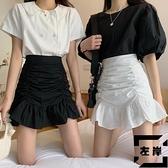 魚尾裙半身裙女夏季高腰A字短裙褶皺包臀荷葉邊裙子【左岸男裝】