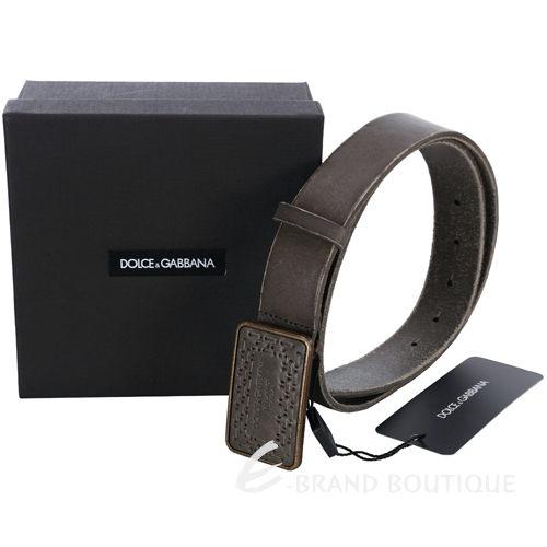 DOLCE & GABBANA 仿舊設計編織方頭牛皮腰帶(灰棕色) 1330083-63