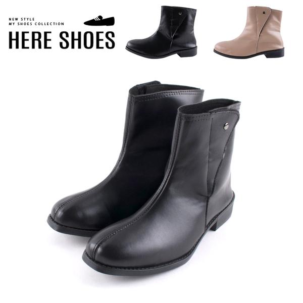 [Here Shoes] 3cm短靴 MIT台灣製 率性百搭側面魔鬼氈 筒高13CM皮革圓頭厚底短靴-AN692