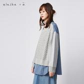 a la sha+a  假兩件拼接條紋針織上衣