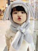 秋冬男女寶寶帽子1可愛兒童帽子加厚嬰兒帽子護耳圍巾圍脖一體3歲  免運快速出貨
