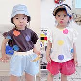 韓版彩色圓點印花短袖上衣 童裝 短袖上衣 上衣