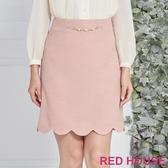 Red House 蕾赫斯-花邊造型合身裙(粉色)
