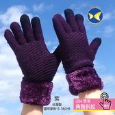 [ 開發票 蝴蝶魚 ButterflyFish  ] G04 紫 典雅斜紋 女款 雙層 觸控 手套 台灣製