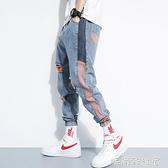 2020年春夏季破洞九分牛仔褲男士新款韓版潮流束腳寬鬆夏款哈倫褲「時尚彩紅屋」