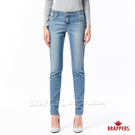 BRAPPERS 女款 新美腳ROYAL系列-中低腰彈性噴漆窄管褲-淺藍