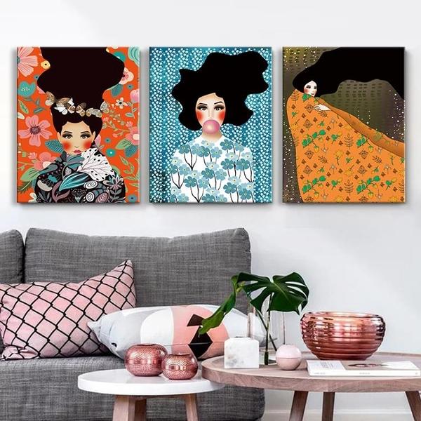 創意個性手繪女人客廳裝飾畫臥室沙發背景墻壁畫【輕奢時代】