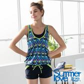 【Summer Love 夏之戀】幾何印花連身褲二件式泳衣(S19719)