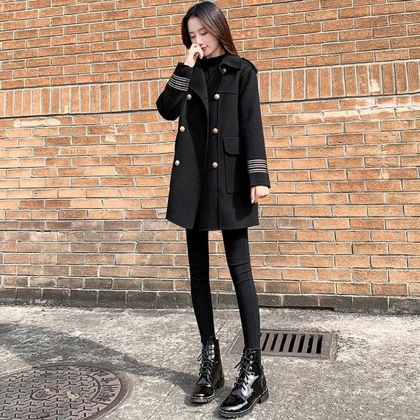 黑色毛呢外套女中長款2020新款秋冬流行寬鬆小個子赫本風呢子大衣 露露日記