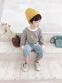 寶寶衛衣春秋2018新款韓版男童洋氣卡通潮衣兒童條紋圓領秋裝上衣  嬌糖小屋