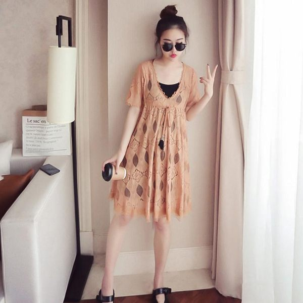 大碼連身裙女胖mm2019款夏適合胯大腿粗裙子套裝胖女人遮肚顯瘦潮 韓流時裳
