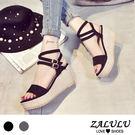 ZALULU愛鞋館 8CE114 日韓推薦款顯瘦斜坡跟涼鞋-黑/灰-35-39