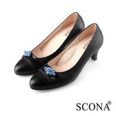 SCONA 蘇格南 全真皮 典雅鑽飾點綴高跟鞋 黑色 22625-1