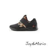 【Joy&Mario】彈性繃帶拼接花卉輕量休閒鞋 - 76066W BLACK 美碼6