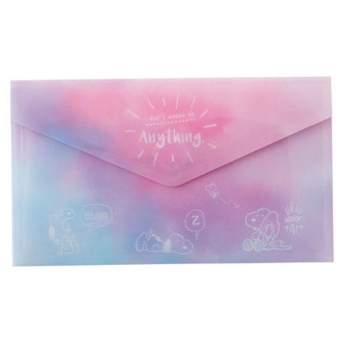 Marimo 日本製PP信封式票券收納夾 SNOOPY 夢境 粉紫_FT65232