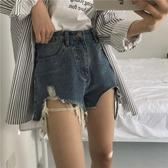 2019早春新款時尚個性寬鬆顯瘦百搭磨破流蘇洗水高腰牛仔短褲女潮