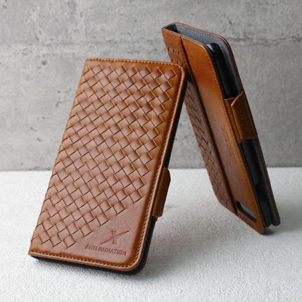 手機 皮套 - IPHONE 8 / 7 - 防電磁波 - 精緻真皮 - 格紋 - 復古駝【Moxie 摩新科技】