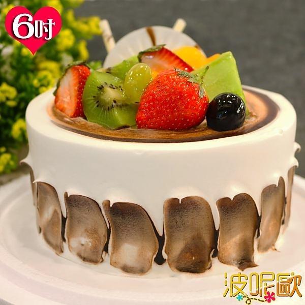 【南紡購物中心】【波呢歐】醇香巧克力雙餡藍莓鮮奶蛋糕(6吋)