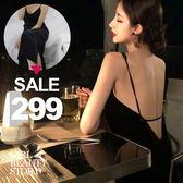 SISI【D8090】高貴典雅名媛性感露背香肩細肩顯比例曲線開叉莫代爾棉連身裙洋裝