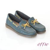 effie 縫線包仔鞋 真皮穿繩奈米樂福平底鞋 灰綠