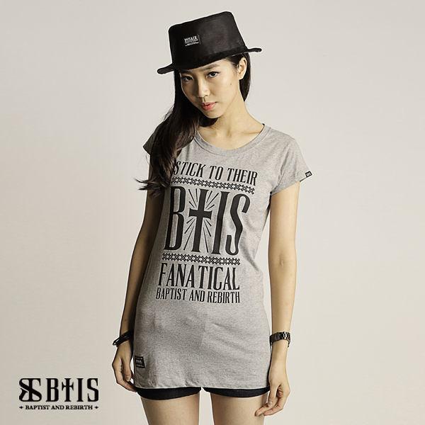【BTIS】BTIS Slogan文字 長版T-shirt  / 麻灰色