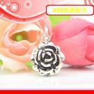銀鏡DIY S925純銀材料配件/硫化染黑層次盛開玫瑰花朵吊墜-大款~適合手作串珠/蠶絲蠟線/幸運衝浪繩