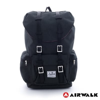 Backbager 背包族【美國 AIRWALK】學院風 抽繩束口袋 筆電後背包(小)-黑
