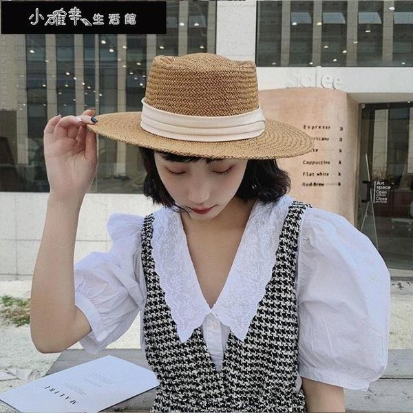 沙灘帽 平頂草帽女夏海邊度假沙灘帽遮陽復古法式平沿帽子小清新禮帽 快速出貨