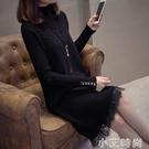 秋冬內搭中長款針織洋裝女裝氣質黑色配大衣裙子蕾絲打底毛衣裙 小艾新品