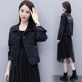 黑色牛仔外套女2020秋冬季新款刺繡韓版寬鬆百搭顯瘦短款BF上衣潮
