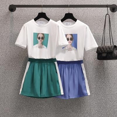 短袖套裝兩件式百搭韓版大尺碼女裝L-4XL省心搭配休閒兩件套MR26韓衣裳