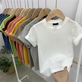 【夏季bi入款】兒童純色短袖t恤男童半袖體恤女童打底衫寶寶上衣 幸福第一站