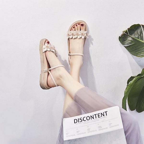 兩穿網紅涼拖鞋女夏新款韓版時尚花朵一鞋兩穿平底學生涼鞋女