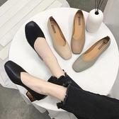 方頭淺口豆豆鞋女2020流行女鞋新款韓版中粗跟英倫風奶奶鞋單鞋子 茱莉亞