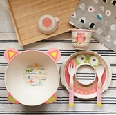 【Babycoccole 】elegant eco 竹製環保無毒兒童餐具六件組 – 貓頭鷹