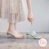 透明高跟涼鞋女涼鞋夏外穿粗跟涼拖中跟水晶拖鞋【大碼百分百】