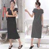 夏秋韓版條紋洋裝女短袖顯瘦莫代爾長裙寬鬆圓領打底裙大碼 阿宅便利店