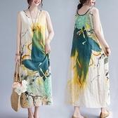中大尺碼 無袖洋裝 復古文藝印花無袖連身裙大碼女裝胖妹妹藏肉顯瘦休閒減齡長款裙子