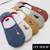 [現貨] [多件優惠] 隱形襪 襪子 船型襪 短襪 可愛貓咪刺繡 女生配件 配件 純棉 M1005