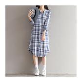 現貨 長袖洋裝 格紋 棉麻 薄款 長版 襯衫 長袖 連身裙 XL碼【BS5902】 BOBI
