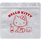 小禮堂 Hello Kitty 方形鋁製夾鏈袋組 食物分裝袋 密封袋 糖果袋 鋁袋 (5入 銀 側坐) 4973307-49579