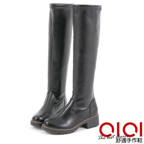 長靴 魅力經典素面彈性長筒靴(皮面黑) *0101shoes【18-1769bk】【現貨】
