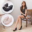 [Here Shoes]2色 楔型高跟鑲鑽小花質感 前高4.5CM後高10CM 人字 夾腳拖鞋 MIT台灣製─KTDW813