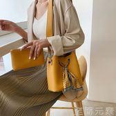 夏季子母包包女包新款小清新韓版百搭單肩斜背時尚休閒水桶包 至簡元素