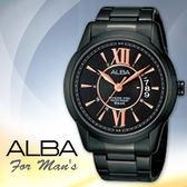 ALBA 雅柏 手錶專賣店 AS9233X1 男錶 三眼錶 不鏽鋼錶殼錶帶 黑 玫瑰金指針刻度 三折式錶扣