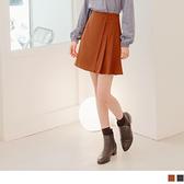 不對稱打褶A-Line短裙.有褲裡 OrangeBear《CA2444》