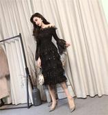 禮服-春秋新款名媛時尚顯瘦氣質一字肩露肩長款蛋糕禮服洋裝女裝  提拉米蘇