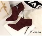 高跟短靴 絨質細跟側邊拉鍊小女人 裸靴 踝靴*Kwoomi-A102
