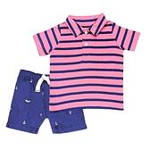 【北投之家】男寶寶套裝二件組 短袖POLO杉上衣+短褲 粉條紋 | Carter s卡特童裝 (嬰幼兒/小孩/兒童)