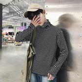 韓國ulzzang男女寬鬆高領條紋打底衫原宿bf風學生情侶百搭長袖T恤  印象家品旗艦店